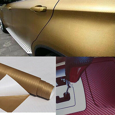 3D Carbon Fiber Vinyl Car Wrap Sheet Roll Film Sticker Decal Many Colours