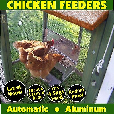 Chicken Feeder by Sophies treadle Aluminium Chook Poultry automatic self