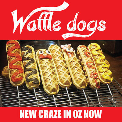"Waffle Dogs Machine Grill ""High Profits"" Unique Great Seller Dog Waffles OZ Stoc"