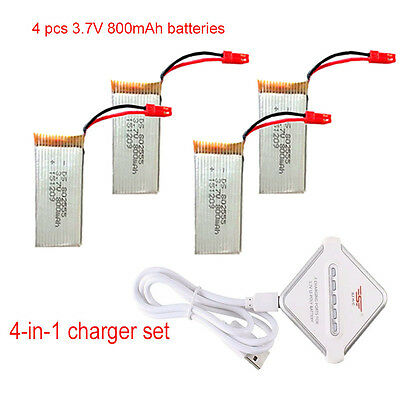 AU! 4X 800mAh Battery+JST 4in1 Plug Charger For JJRC V686 H12C F181 Heli Drone