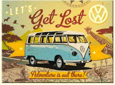 VW Volkswagen Camper Lets Get Lost metal fridge magnet (na)