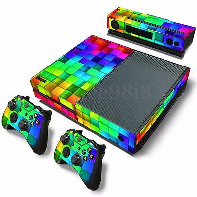 3D Effect Lattice Vinyl Decal Skin Sticker For Xbox ONE Console + 2 Controllers