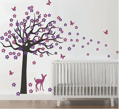 Wall stickers custom colour xlarge tree flowers deer decal home vinyl kids decor