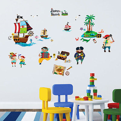 wandsticker wandtattoo piraten schatzinsel kinderzimmer jungen schiff palmen eur 24 95. Black Bedroom Furniture Sets. Home Design Ideas
