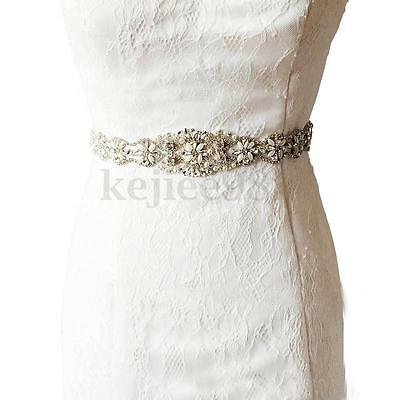 Vintage Rhinestone Pearl Bridal Jeweled Waist Belt Retro Wedding Dress Sash UK