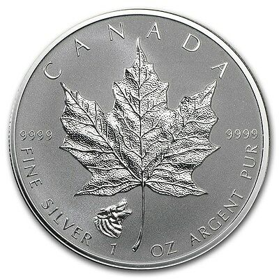 CANADA 5 Dollars Argent 1 Once Maple Leaf 2016 Marque privé Loup 1 Oz silver