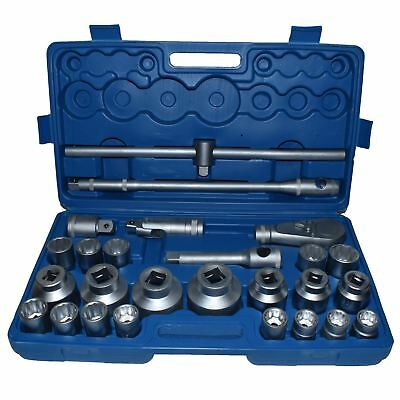 """26pc 3/4"""" dr and 1"""" dr Shallow Socket Set 21mm - 65mm Metric Sizes Ratchet IRE"""