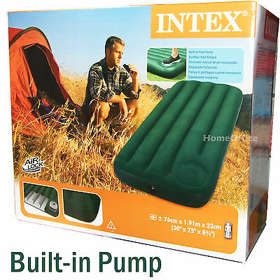Intex Single Inflatable Bed With Built In Manual Pump Air Bed Mattress łóżko