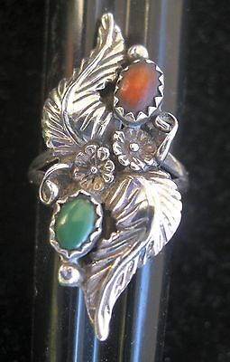 Vtg Sterling Silver Native American Green Turquoise & Coral Stone Feather Ring