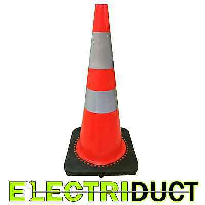 """28"""" PVC Traffic Cones With Safety Road Reflective Collar 10 Pack Orange & Black"""