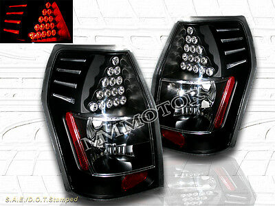 2005-2008 Dodge Magnum Black Tail Lights With Led Pair 2005 2006 2007 2008