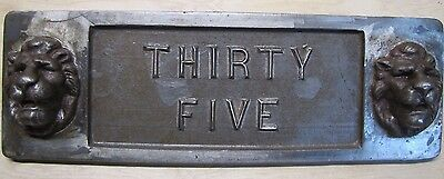 Old Double Lions Head Architectural Building Number 'Thirty Five' Marker Sign