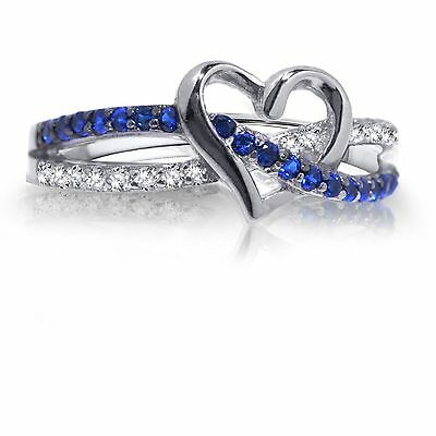 Blue Sapphire Infinity Heart Genuine Sterling Silver Ring
