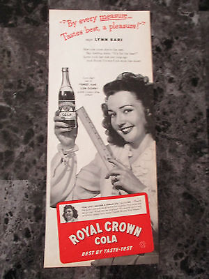 "Vintage 1944 Lynn Bari Royal Crown Cola Soda Print Ad, 13.875"" X 5.75"""