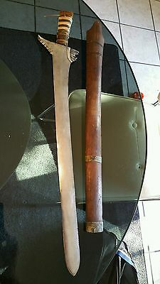 Antique 19th Century Filipino Mindanao Moro Kris Sword With Scabbard