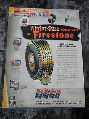 "Vintage 1944 Colorful Firestone Tires Print Ad, 13.625"" X 10.125"""
