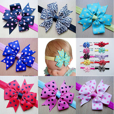 10Pcs Kids Girls Baby Toddler Cute Bow Headband Headwear Hair Band Accessories
