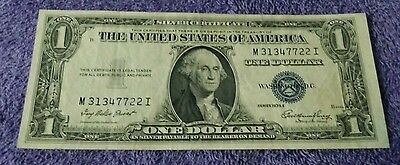 1935 E $1 Dollar Bill Old Us Paper Money Currency Blue Seal Note Real Nice!