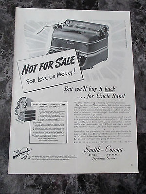 "Vintage 1942 Smith Corona Typewriters Buyback Print Ad, 14"" X 10.25"""