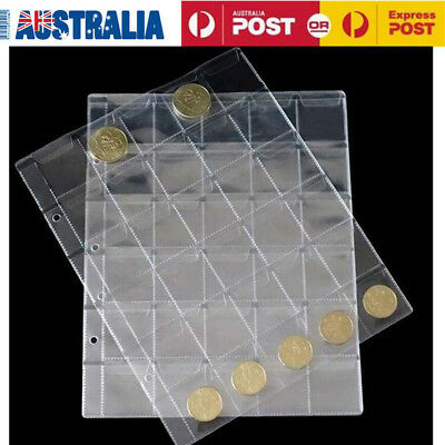 10 Pcs Coin Pages 30 Pocket Coin Sticker Sleeve Protector Storage Sheets Holder