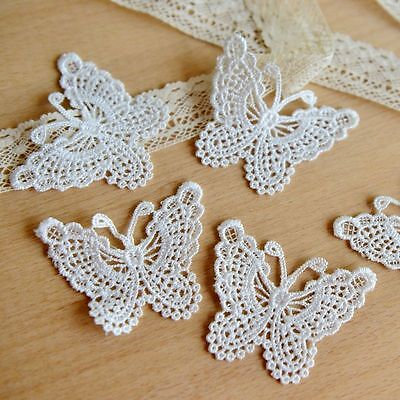 Vintage White Butterfly Lace Edge Trim Ribbon Applique Sewing Wedding Crafts DIY