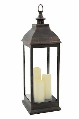 Giant Bronze Lantern with Flickering Candles. Battery Operated. Timer. 72cm tall