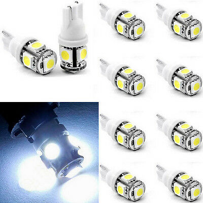 10x T10 White 12V LED 194 168 158 W5W 501 Side Car Auto Wedge Light Lamp Bulb