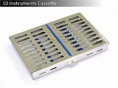 10 Instruments Dental Surgical Sterilization Autoclave Cassette Tray Stainless