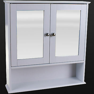 Bathroom Cabinet Double Door Mirror White Wooden Wall Mounted Storage Shelf New