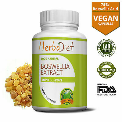 PURE Boswellia Serrata Extract 75% 500mg Vegetarian Capsules EXTREME STRENGTH