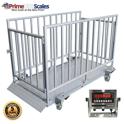 Livestock Cattle Scale Optima OP-930 5,000 lb Cage for Sheep Pigs Horses NTEP