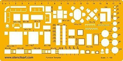 Architect Technical Drawing Stencil - Furniture Template - Metric 1:100 - in the