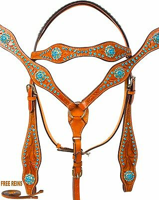 New Turquoise Western Trail Show Horse Leather Tack Headstall Breast Collar Set