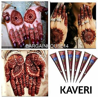 New ! Fresh Quality Kaveri Natural Henna Mehndi Tattoo Cone Darkest Brown Color