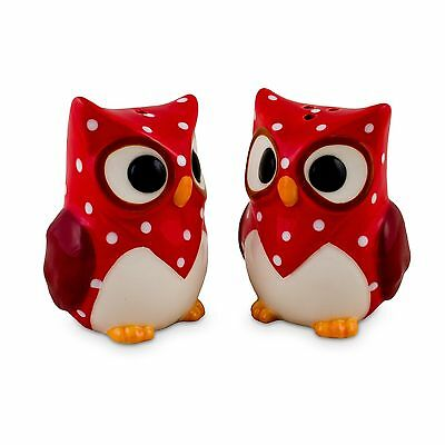 Owl Ceramic Salt & Pepper Shakers - Red - Boxed