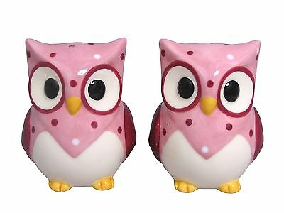 Owl Ceramic Salt & Pepper Shakers - Pink - Boxed