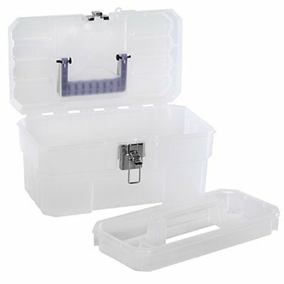 "Akro-Mils 09514 Cft 14"" Plastic Art Supply Craft Storage Tool Box, Semi-Clear"