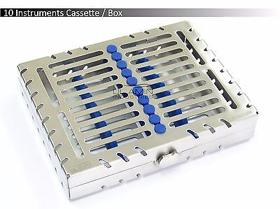 10 Instruments Dental Surgical Sterilization Autoclave Cassette Tray Steel Box