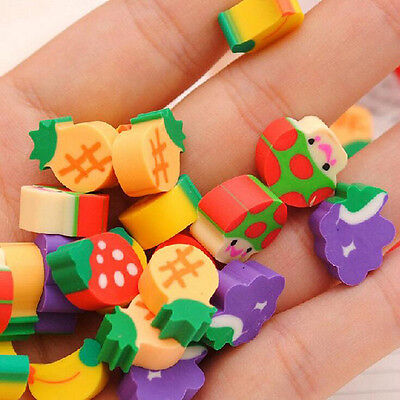 50pcs Cute Mini Fruit Rubber Pencil Eraser For Children Stationery/Gift/Toy