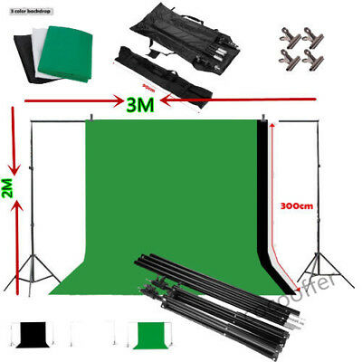 Studio Photo Black White Green Backdrop Chroma Key Screen Background Stand Kit