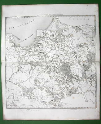 1859 ANTIQUE MAP - Prussia Poland betw Warsaw & Gdansk Kaliningrad in Russia