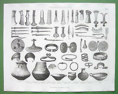BRONZE AGE Artifacts Utensils Jewelry Arms - 1870 Antique Print