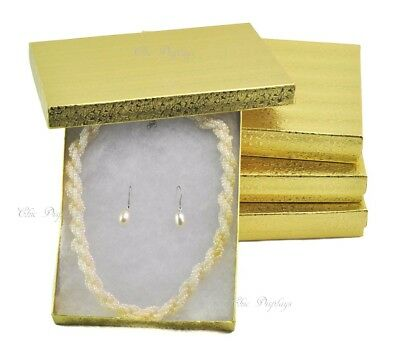 "LOT OF 4 GOLD COTTON FILLED BOXES JEWELRY BOX NECKLACE SET BOXES 7 1/8""x5 1/8"""