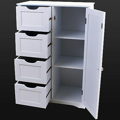 4 Drawer Bathroom Cabinet Storage Unit Wooden Chest Cupboard White Door Draw NEW