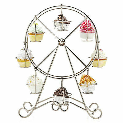 Ferris Wheel 8 Cups Silver Stainless Steel Cupcake Stand Holder Wedding Party