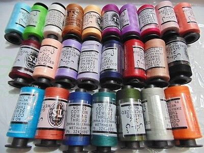 25 x LARGE SEWING All PURPOSE 100% PURE COTTON THREAD SPOOLS 25 ASSORTED COLOURS
