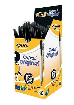 BIC Black Ink CRISTAL Medium Ball Pens BIC Biros Ball Point Pens Home Office
