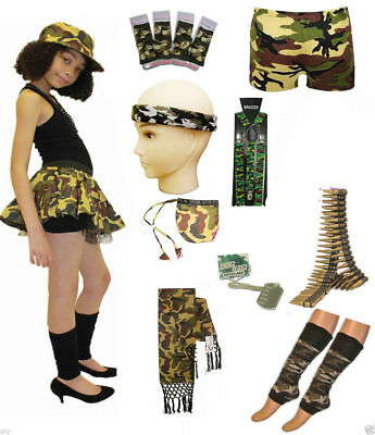 Ladies Camouflage Outfit Accessories Tutu Skirt Wrist Shorts Vest Army Trousers