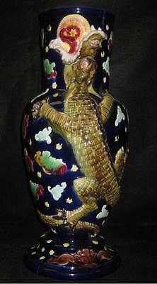 Antique Chinese  Cobalt & Turquoise Majolica Vase W/ Dragon - 2 Old Repairs