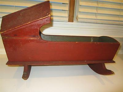 Antique Red & Green Painted Wood Hooded Doll Cradle - Great Paint